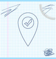 map pointer with check mark line sketch icon vector image vector image