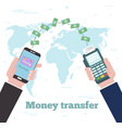 money transfer concept in line art style vector image