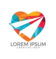 paper plane heart shape logo design vector image