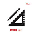 pencil and square ruler icon vector image