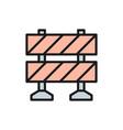 railroad barrier roadblock flat color line icon vector image vector image