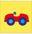 red cartoon car on the yellow background vector image