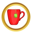 Red cup with tea bag icon vector image vector image