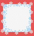 red frame pattern with white and blue snowflakes vector image vector image