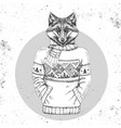 Retro hipster animal fox dressed in pullover