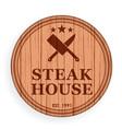 round wooden plate cutting board steak design vector image