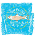 seafood restaurant menu on blue old paper vintage vector image vector image