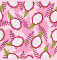 seamless tropical pattern with fresh sliced dragon vector image vector image