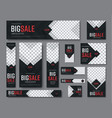 set black web banners standard sizes vector image vector image
