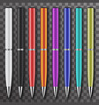 set colored white and black pens set vector image