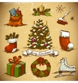 set new year and christmas design elements vector image