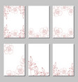 set of card with flower rose leaves vector image vector image