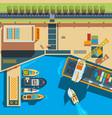 ship top view seaside cargo boats dockyard vector image vector image