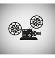 silhouette of the old film projector vector image