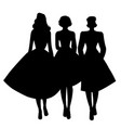silhouettes three girls wearing retro clothes vector image