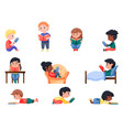 smart little kid enjoy reading book isolated set vector image vector image