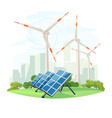 solar panels and wind turbines green energy vector image vector image