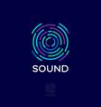 sound logo musical acoustics sound waves emblem vector image