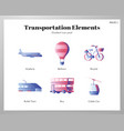 transportation elements gradient pack vector image vector image