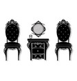 vintage black furniture set rich carved vector image vector image