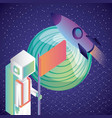 virtual reality astronaut rocket planet in space vector image