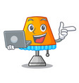 with laptop character table office lamp in indoor vector image