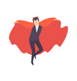 young man dressed as vampire guy in bright vector image vector image