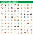 100 utensil icons set cartoon style vector image