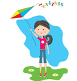 Cartoon the girl with a kite vector image