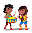 afro american playing drum next to dancing vector image vector image