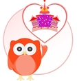 background with owl and cute castle in love heart vector image