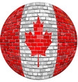ball with canada flag in brick style vector image vector image