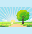 beautiful nature scene in morning vector image vector image