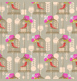 bird cage romantic seamless pattern roses vector image