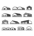 building warehouse set distribution and vector image vector image