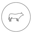 bull black icon in circle outline vector image