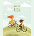 children on a bike vector image