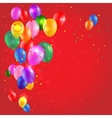 Color balloons on red background vector image vector image