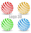 colored 3d circle logo vector image
