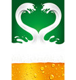 couple of beer splash with foam creating heart vector image vector image
