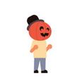 Cute boy wear pumpkin scarecrow costume happy