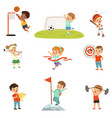 cute little children playing different sports vector image vector image