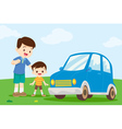 dad and son look at car vector image