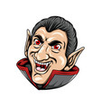 dracula only a head posed with his big smile vector image