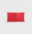empty red textile advertising banner hanging vector image vector image