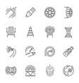 fibre cable thin line icons set isolated on white vector image vector image