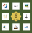 flat icon summer set of boat surfing beach vector image vector image