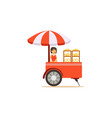 flat street food cart with sweet buns vector image vector image