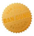 gold ban guns badge stamp vector image
