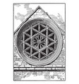 gothic architecture rose hexagonal window square vector image
